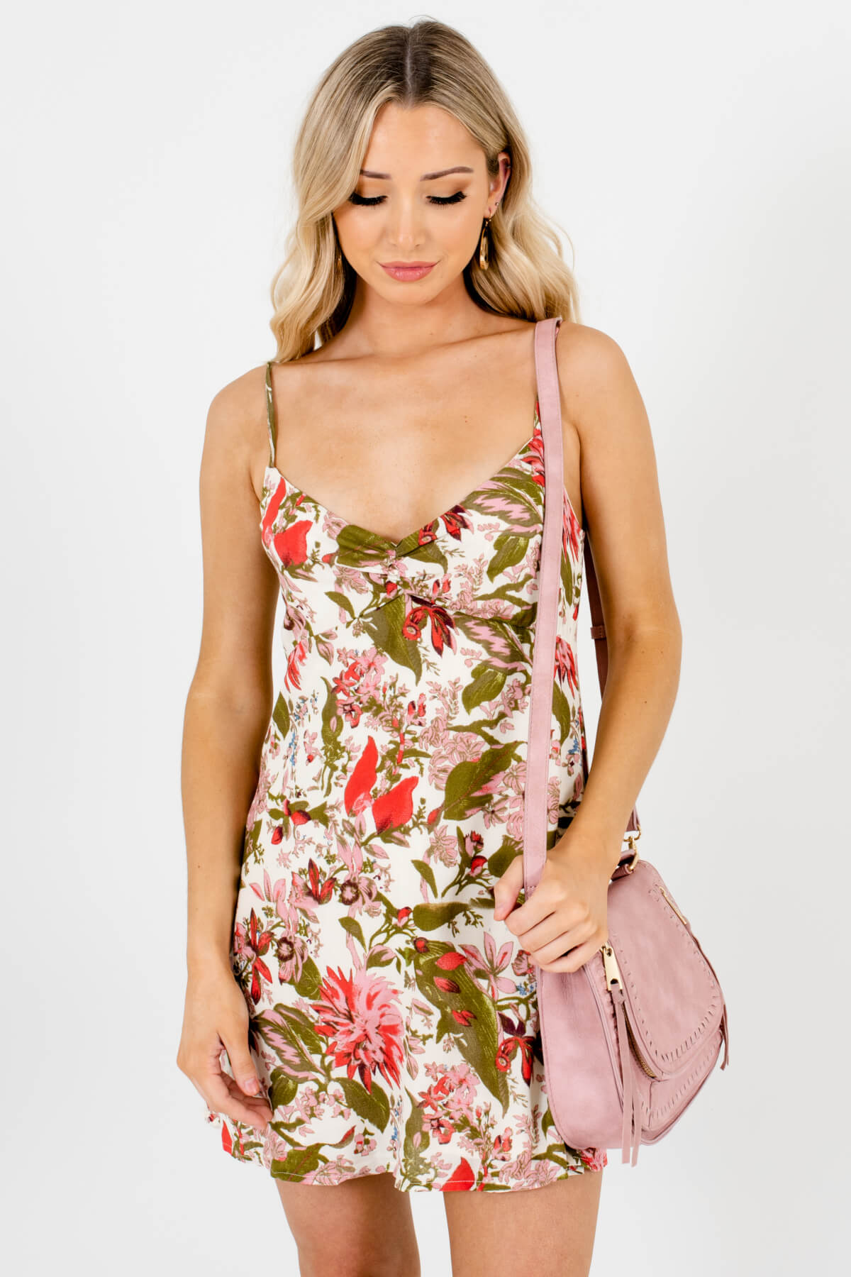 Cream Multicolored Floral Tropical Patterned Boutique Mini Dresses for Women
