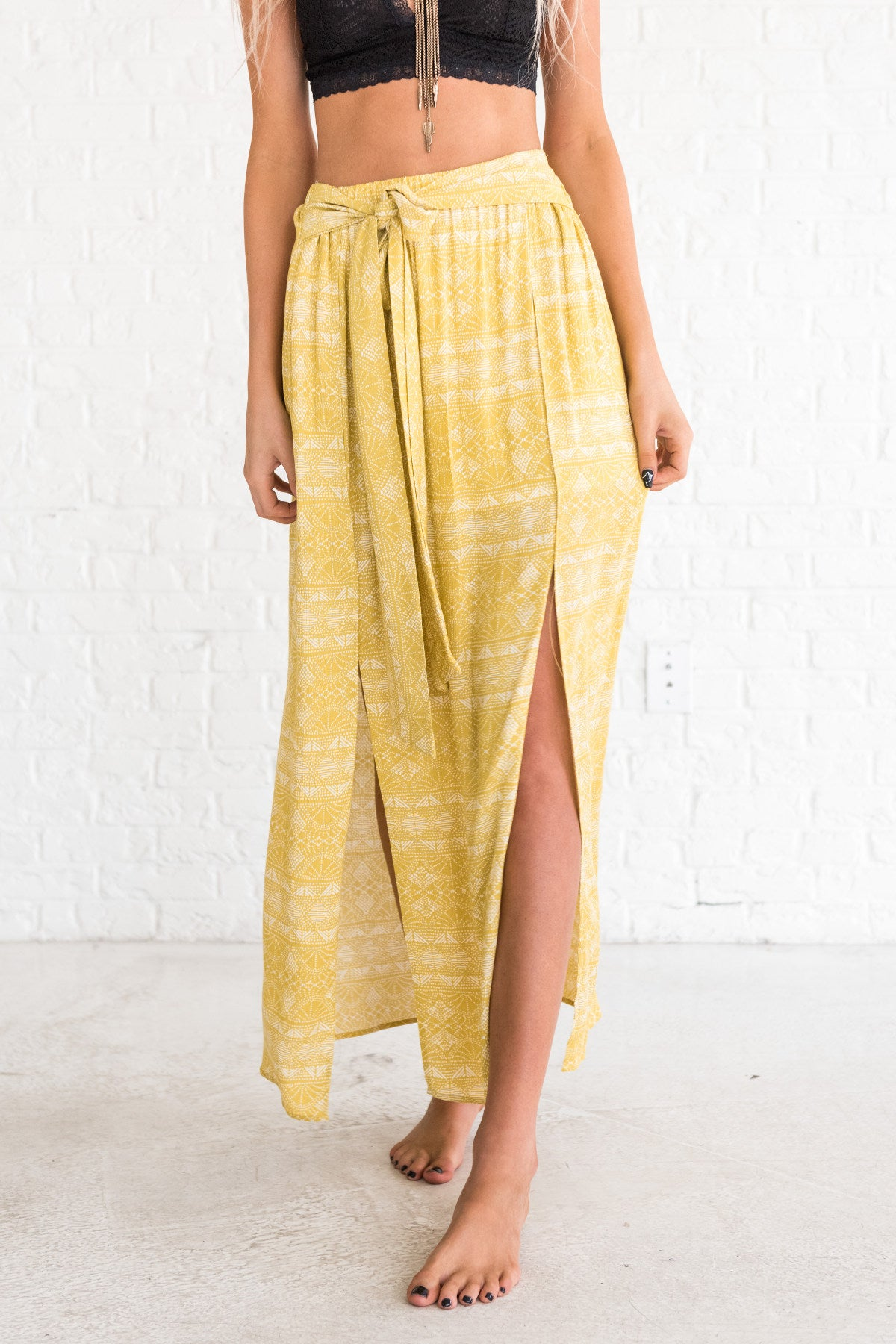 yellow boutique skirt with tribal print