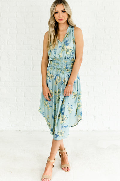 Light Blue Floral Boutique Dress with Accents of Yellow, Dark Blue, and Teal for Women