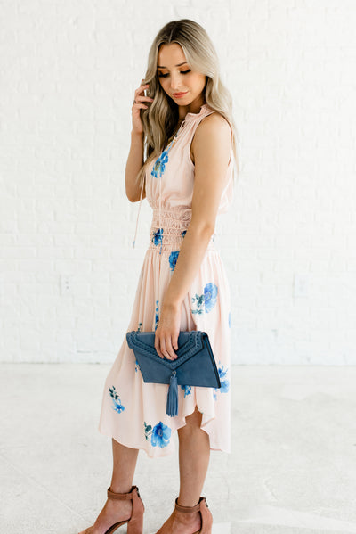 Peach Pink Polka Dot Pattern Boutique Dresses for Women