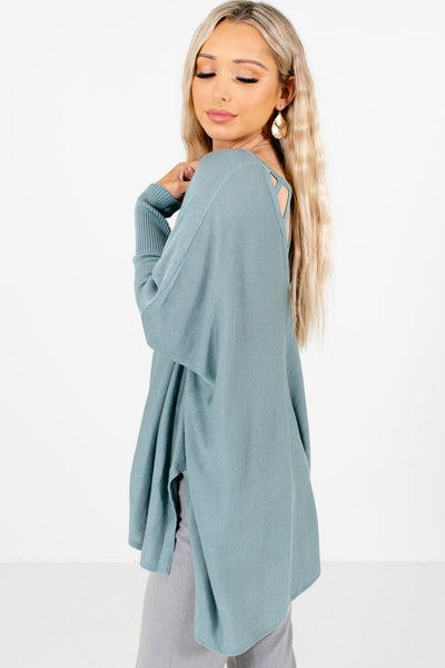 Blue Cutout Back Detailed Boutique Tops for Women