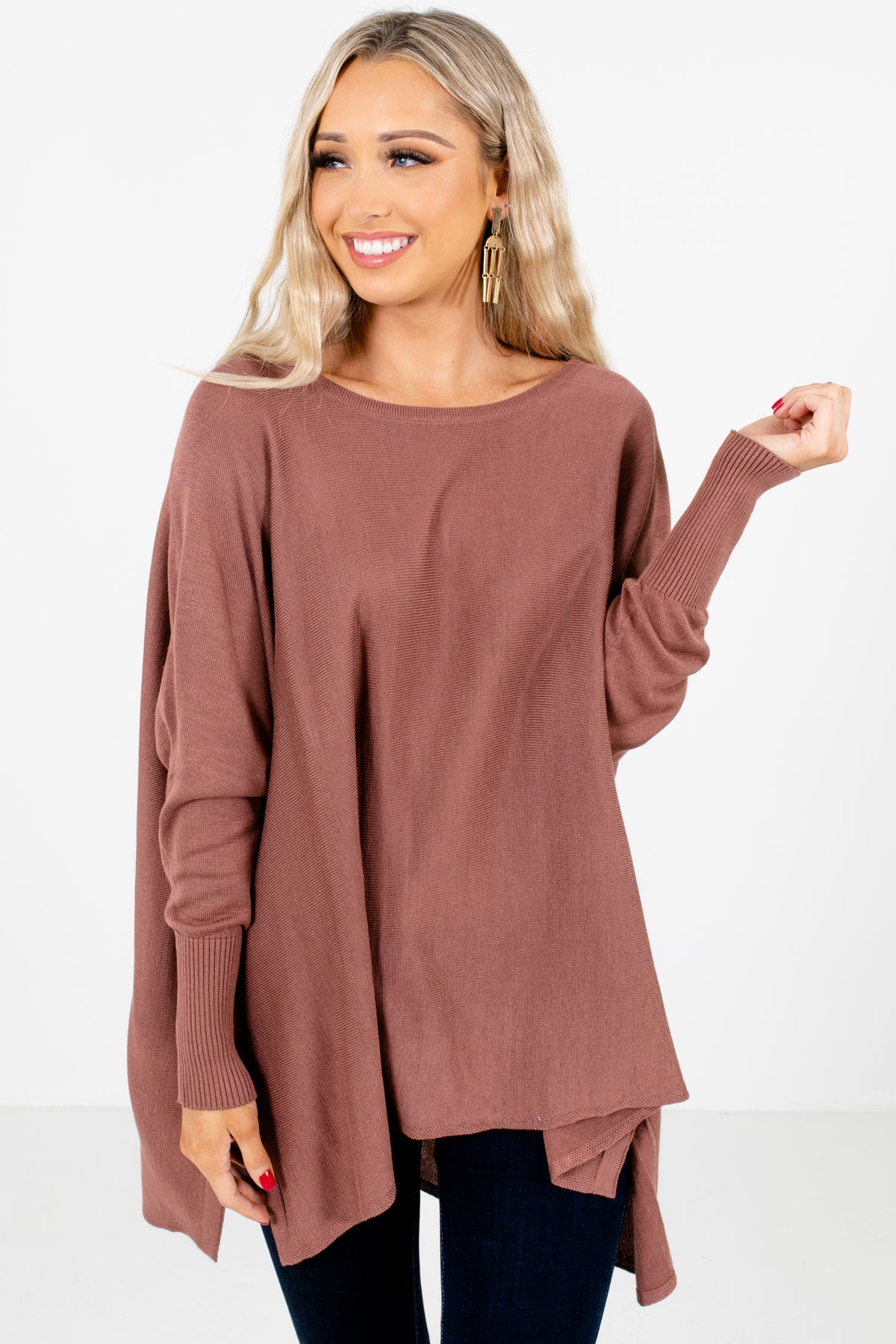 Mauve Oversized Fit Boutique Tops for Women