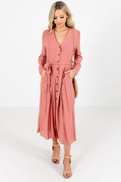Women's Pink Boutique Midi Dresses with Pockets