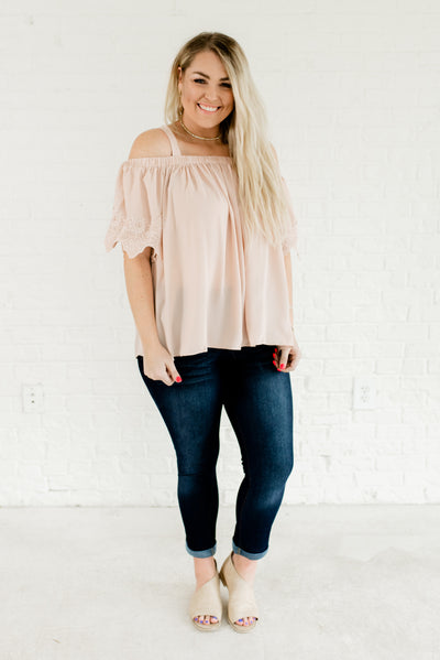 Cute Blush Pink Plus Size Women's Night Out Boutique Tops