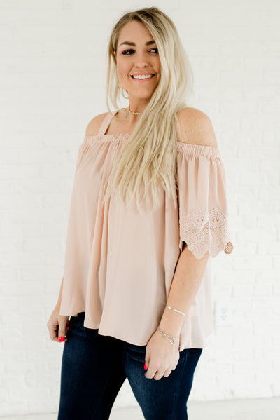 Blush Pink Cold Should Plus Size Boutique Tops for Women