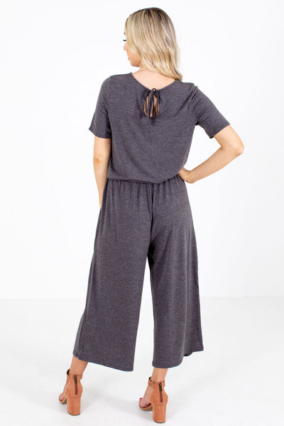 Women's Gray Short Sleeve Boutique Jumpsuits