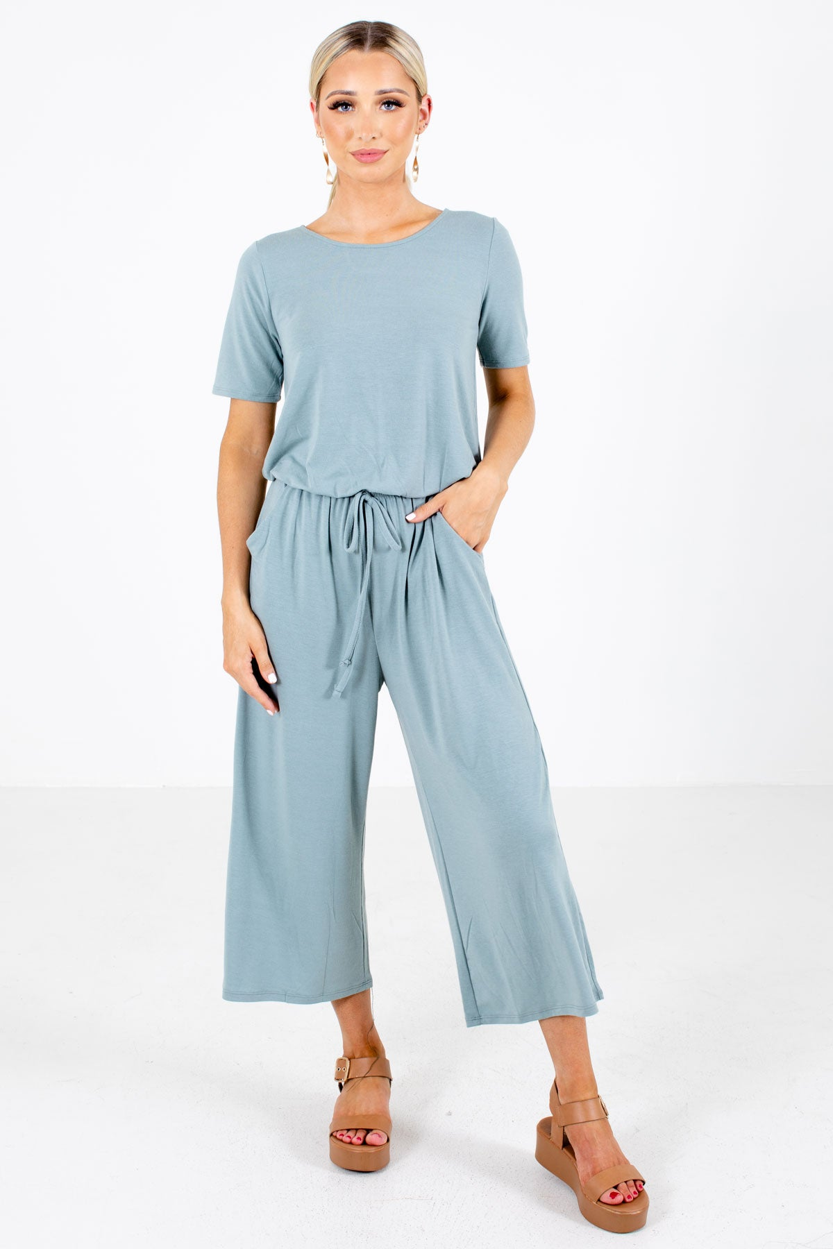 Green Drawstring Waistline Boutique Jumpsuits for Women