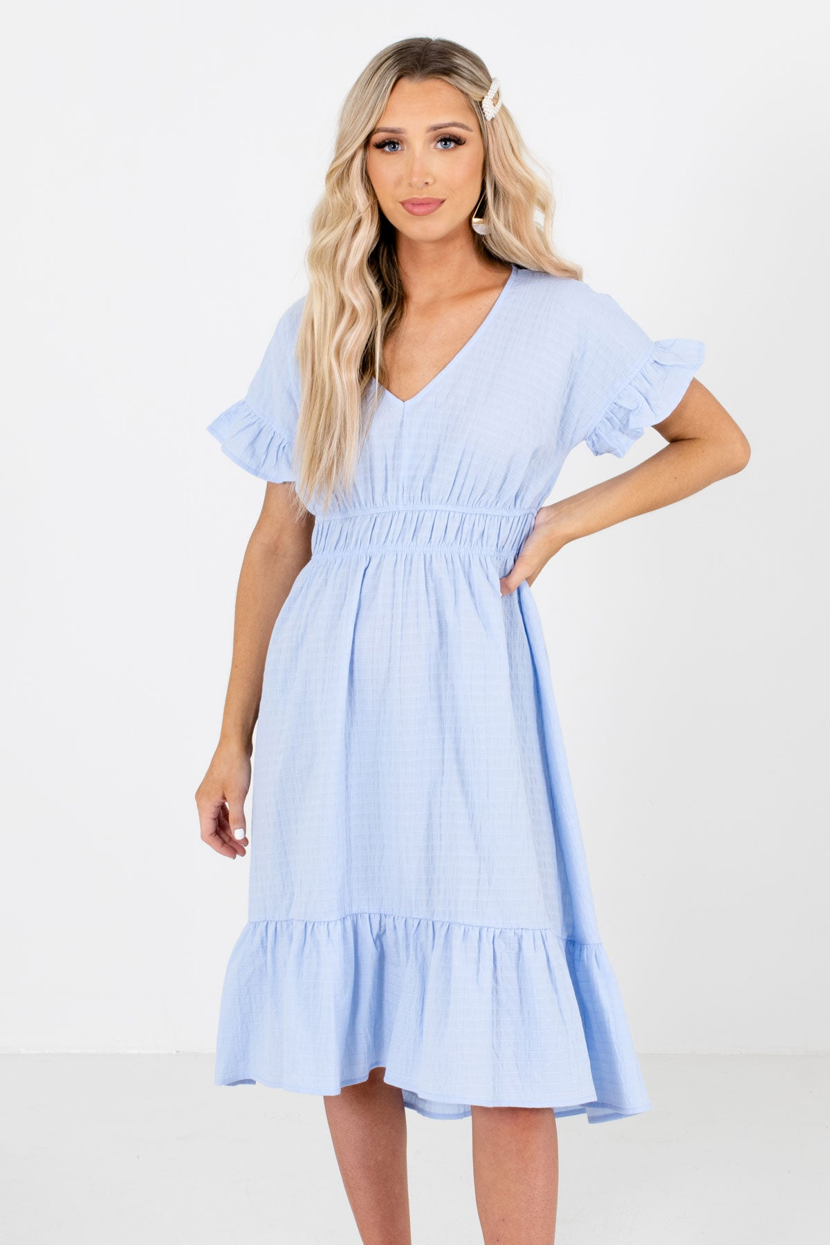 Light Blue V-Neckline Boutique Knee-Length Dresses for Women