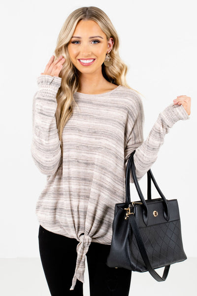 Taupe Brown Striped Pattern Boutique Tops for Women
