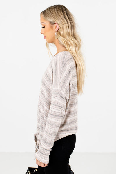 Taupe Brown Long Sleeve Boutique Tops for Women