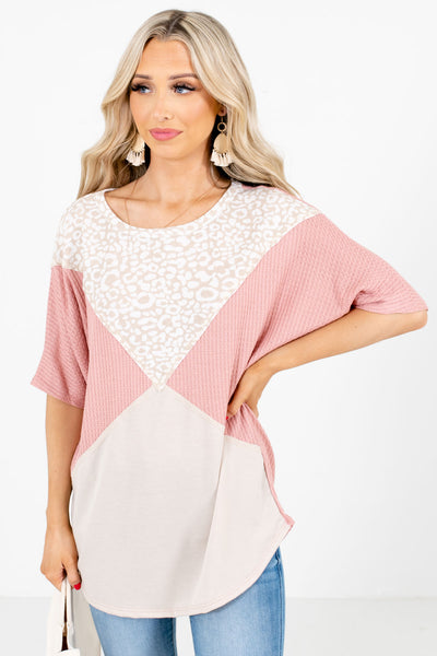 Pink High-Quality Waffle Knit Material Boutique Tops for Women