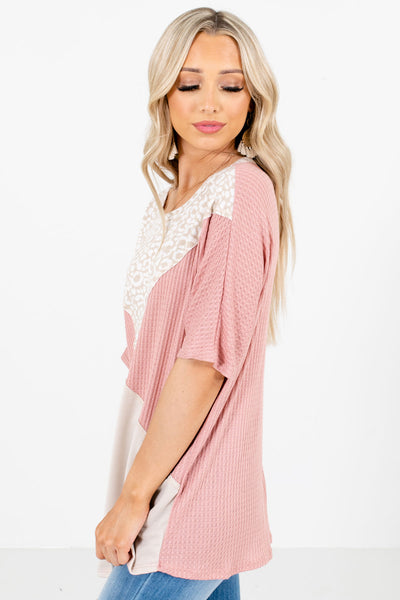 Pink Short Sleeve Boutique Tops for Women