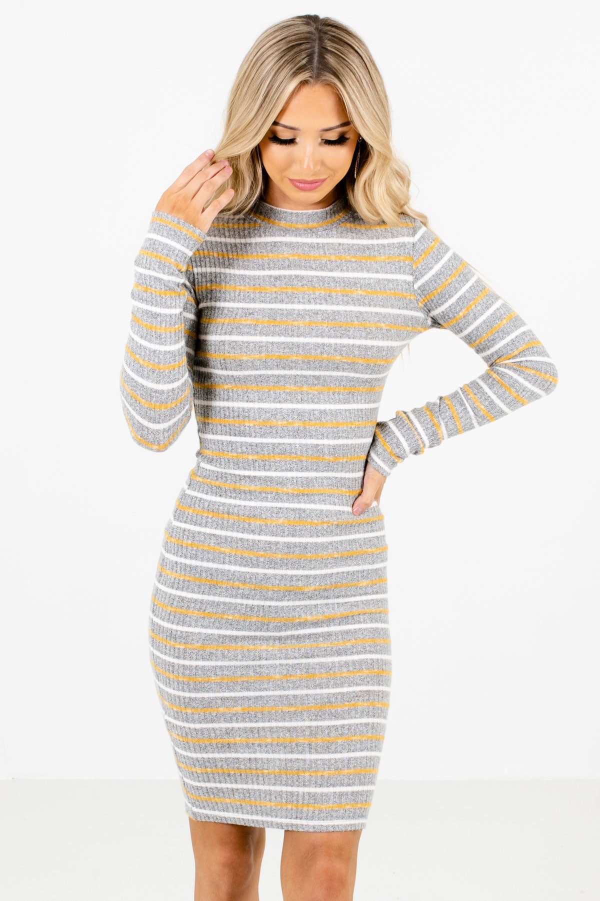 Gray Mustard and White Striped Boutique Mini Dresses for Women