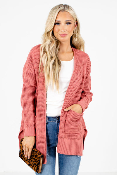 Pink Boutique Cardigans with Pockets for Women