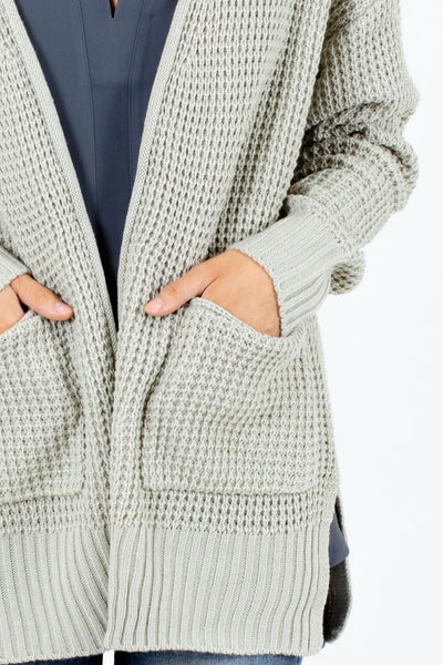 Women's Sage Split Hem Boutique Cardigan