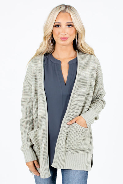 Sage High-Quality Knit Material Boutique Cardigans for Women