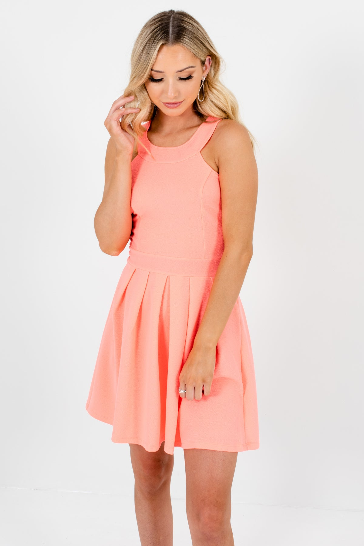 Bright Coral Pink Pleated Bow Back Mini Dresses Affordable Online Boutique