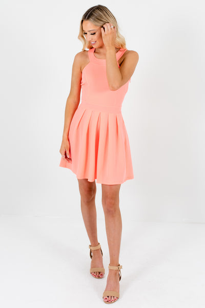 Coral Pink Halter Neckline Bow Accent Pleated Mini Dresses for Women