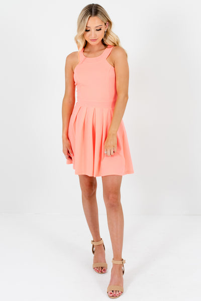 Coral Pink Pleated Bow Mini Dressese with Halter Neckline and Elastic Waistband