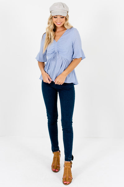 Blue White Polka Dot Ruched Tops Affordable Online Boutique