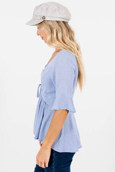 Light Blue Cute Polka Dot Print Ruched Tops for Women