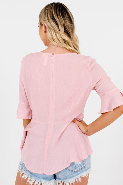 Pink Polka Dot Ruched Tops Affordable Online Boutique