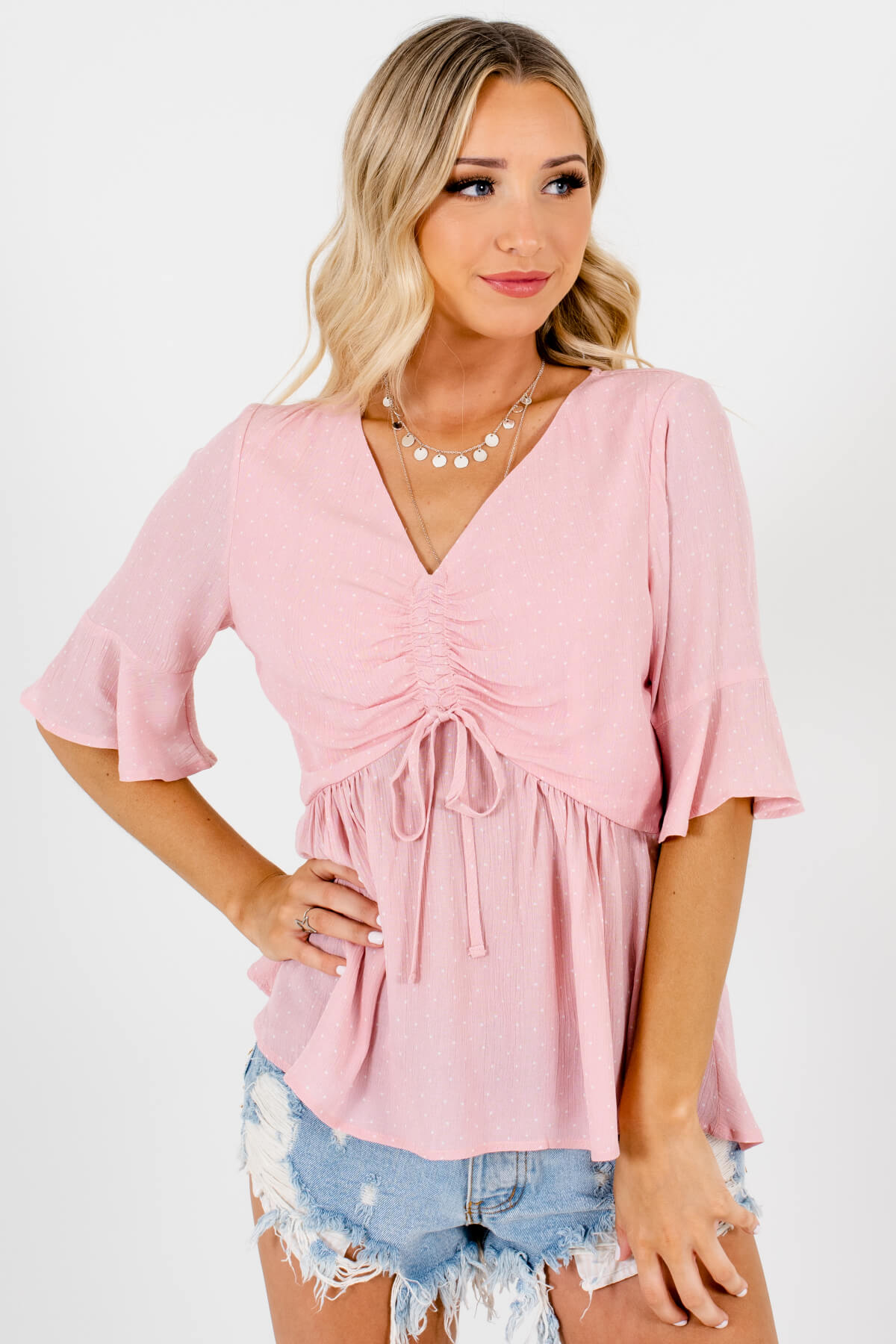 Pink White Polka Dot Print Ruched Tops Affordable Online Boutique