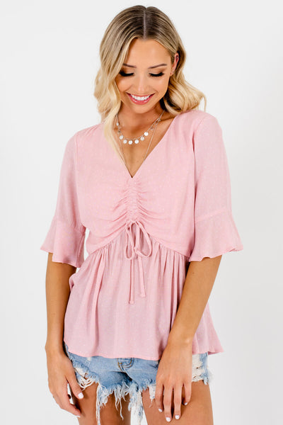 Pink White Polka Dot Tops Affordable Online Womens Boutique