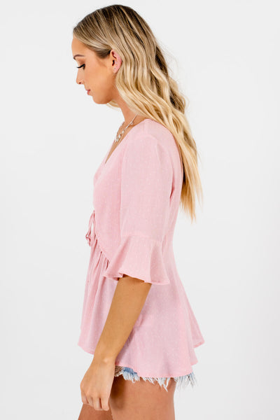 Pink White Polka Dot Tops Affordable Online Boutique