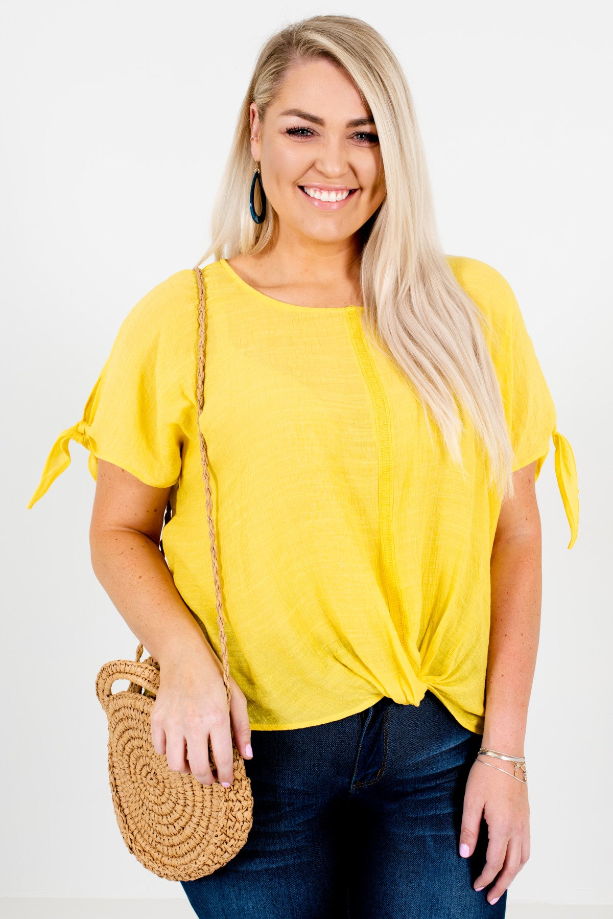 Yellow Infinity Knot Style Plus Size Boutique Tops for Women