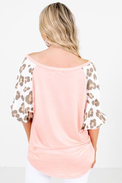 Women's Pink Wide V-Neckline Boutique Top