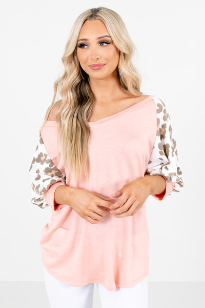 Pink Leopard Print Patterned Boutique Tops for Women