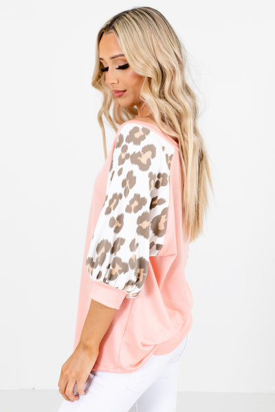 Pink 3/4 Length Sleeve Boutique Tops for Women