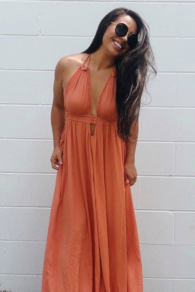 Orange Flowy Long Boutique Maxi Dresses with Open Back and Tassel Ties