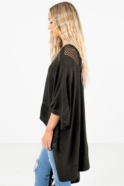 Charcoal Gray Layering Boutique Ponchos for Women