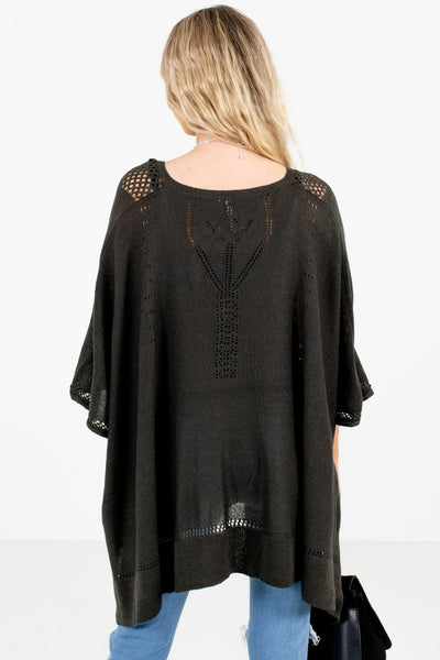 Women's Charcoal Gray Unique Cutout Detailed Boutique Poncho