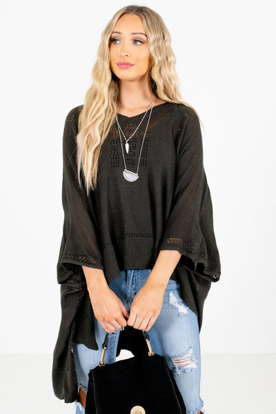 Women's Charcoal Gray Casual Everyday Boutique Ponchos