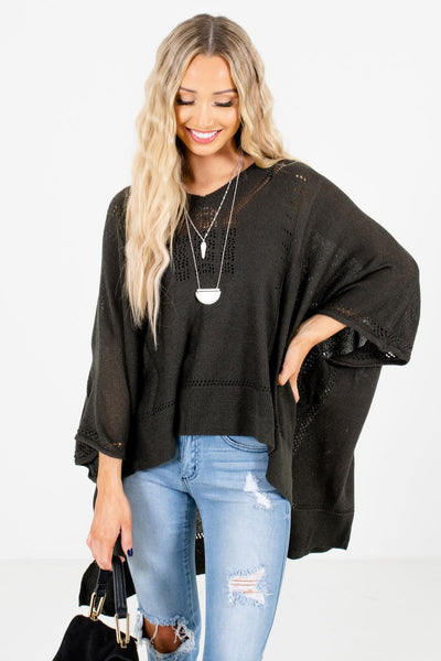 Charcoal Gray Lightweight Knit Material Boutique Ponchos for Women