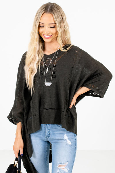 Women's Charcoal Gray Warm and Cozy Boutique Poncho