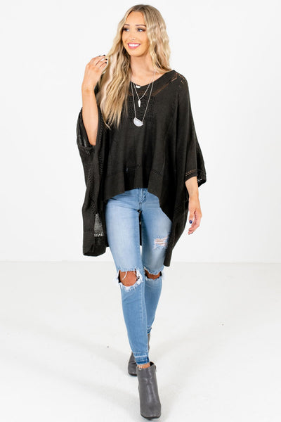 Charcoal Gray Cute and Comfortable Boutique Ponchos for Women