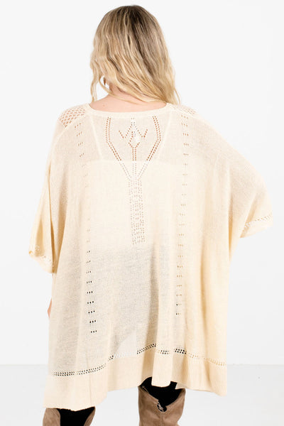 Women's Cream Unique Cutout Detailed Boutique Poncho
