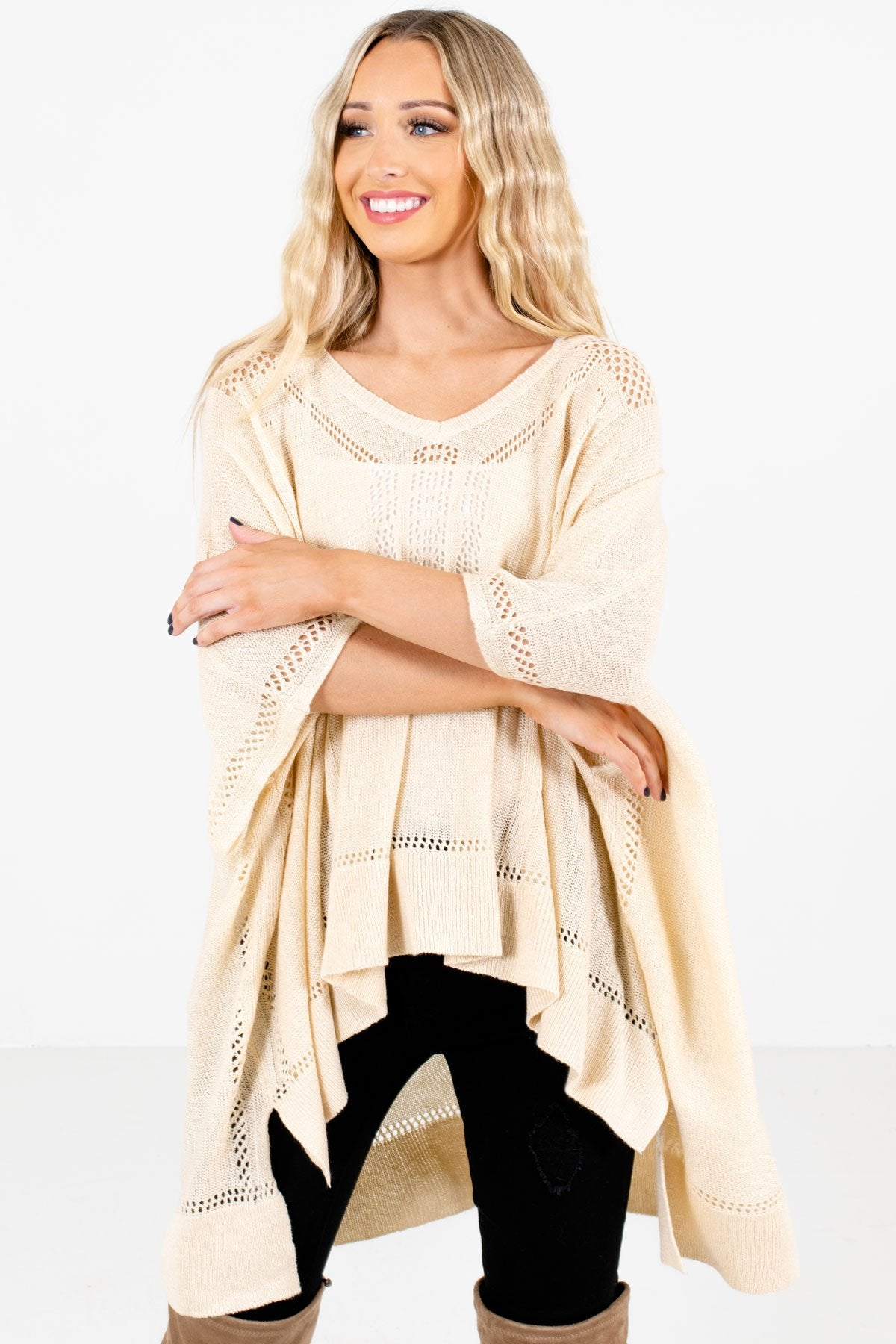 Cream Lightweight Knit Material Boutique Ponchos for Women
