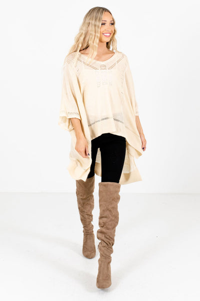 Women's Cream Warm and Cozy Boutique Poncho