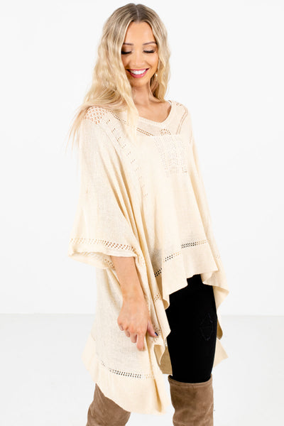 Cream Cute and Comfortable Boutique Ponchos for Women