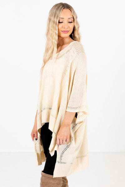 Cream Layering Boutique Ponchos for Women