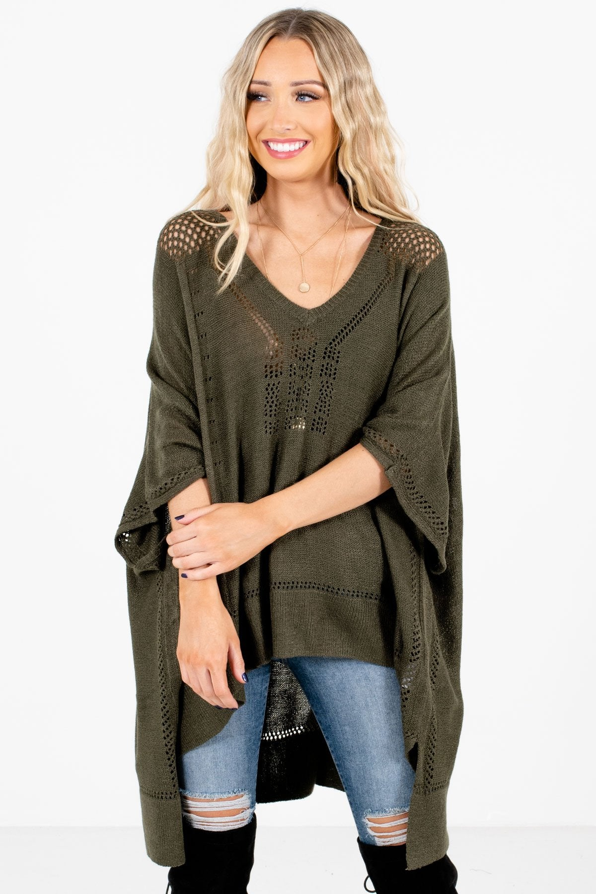 Olive Green Lightweight Knit Material Boutique Ponchos for Women