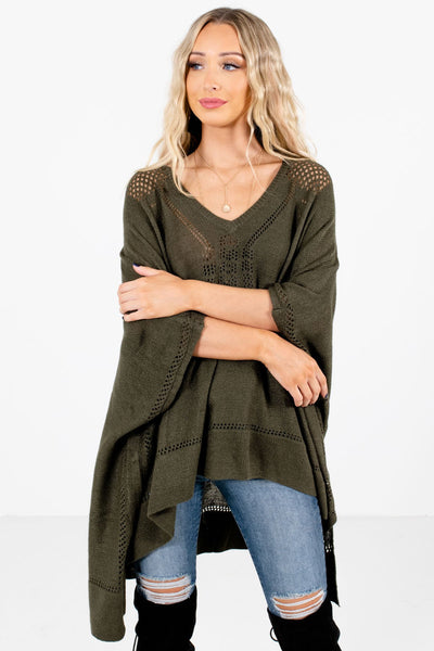 Women's Olive Green Warm and Cozy Boutique Poncho
