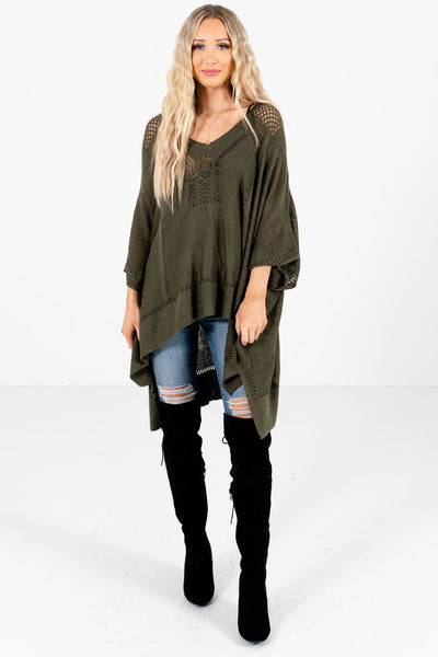 Olive Green Cute and Comfortable Boutique Ponchos for Women
