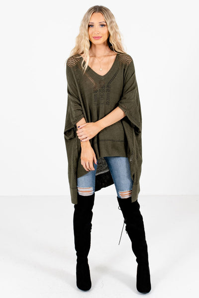 Women's Olive Green Casual Everyday Boutique Ponchos
