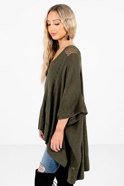 Olive Green Layering Boutique Ponchos for Women